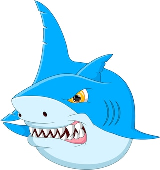 Zabawna kreskówka rekin na białym tle