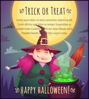 Zabawna kreskówka wiedźma z miotłą i wrzącym kotłem na tle nieba w pełni księżyca happy halloween plakat cukierek albo psikus ilustracja karty z pozdrowieniami