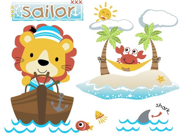 Zabawna kreskówka żeglarskiego tematu z uroczym lwem