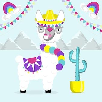 Zabawna lama alpaka na niebieskim tle. płaski obraz słodkie i zabawne zwierzę.