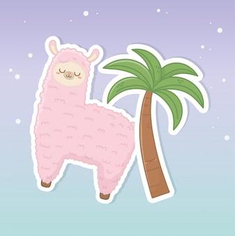 Zabawna lama peruwiańska z palmowymi znakami kawaii