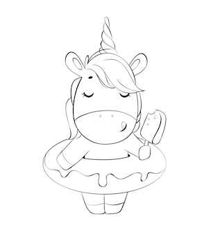 Zabawna magiczna czarno-biała postać z kreskówki jednorożca