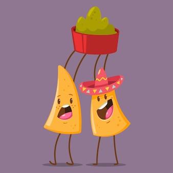 Zabawna postać nachos w sombrero z dipem guacamole. ilustracja kreskówka wektor ładny meksykańskie jedzenie na białym tle
