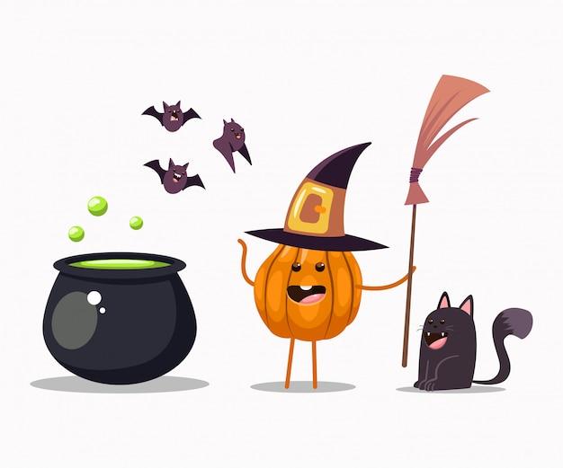Zabawna postać z dyni halloween w kostiumie wiedźmy z miotłą, kotłem, czarnym kotem i nietoperzami. ilustracja kreskówka wektor na białym tle.