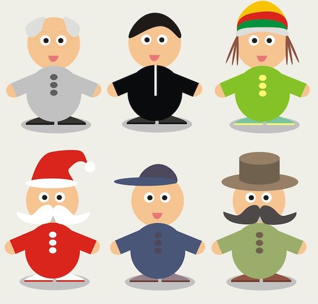 Zabawna postać z kreskówki - ilustracja wektorowa - ludzie set