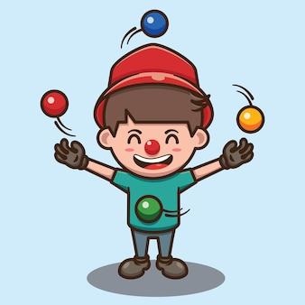 Zabawna postać z kreskówki klauna żonglującego małym chłopcem
