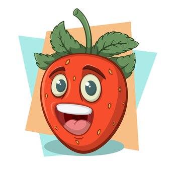 Zabawna postać z kreskówki truskawka