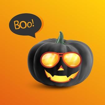 Zabawna realistyczna czarna dynia z kreskówkową twarzą uśmiechniętą na pomarańczowym tle halloweenowa wyprzedaż