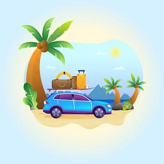 Zabawna rodzina, która jeździ niebieskim samochodem podczas letnich wakacji