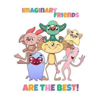 Zabawna różnorodna kolorowa grupa wyimaginowanych przyjaciół potworów