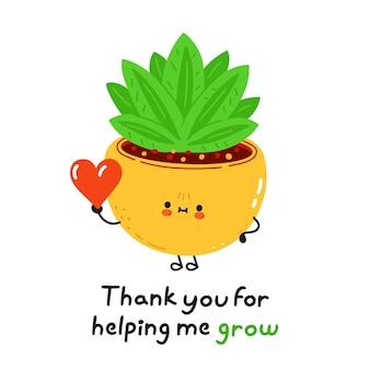 Zabawna śliczna szczęśliwa roślina doniczkowa z sercem w ręku