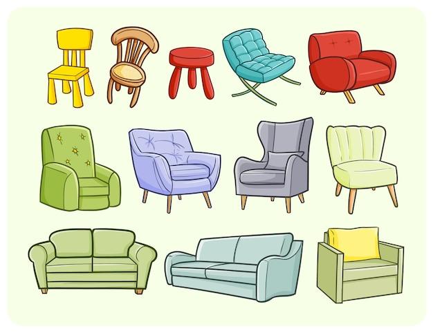 Zabawna sofa i krzesła w prostym stylu doodle