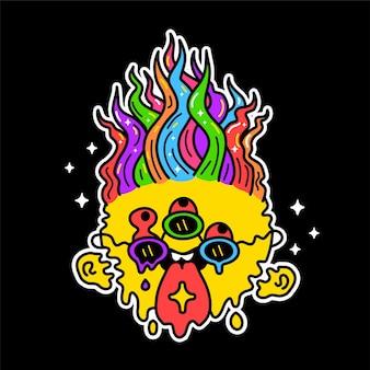 Zabawna twarz z roztopionym uśmiechem z kwasowym znakiem lsd na języku. projekt graficzny ilustracja kreskówka wektor. roztopić trippy uśmiech twarz, nadruk w stylu psychodelicznym na plakat, t-shirt, koncepcja naklejki
