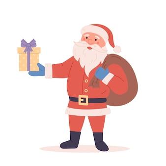 Zabawna wesoła postać świętego mikołaja z torbą na prezenty z prezentami symbol bożego narodzenia