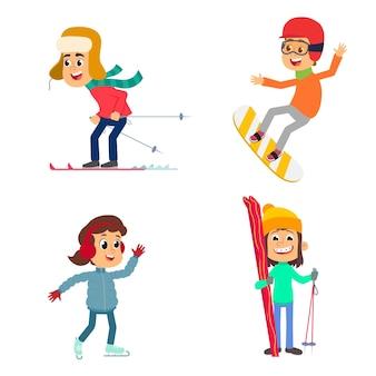 Zabawne dzieciaki jeżdżą na nartach, snowboardzie i łyżwach. ilustracja na białym tle.