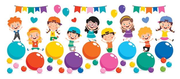 Zabawne Dziecko Bawi Się Kolorowymi Kulkami Premium Wektorów