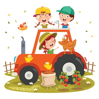 Zabawne dziecko i traktor