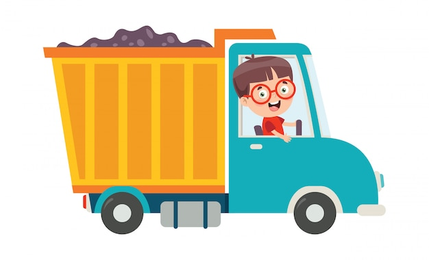 Zabawne dziecko za pomocą ciężarówki