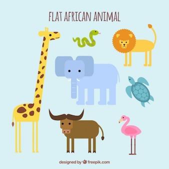 Zabawne dzikie zwierzęta w płaskiej konstrukcji