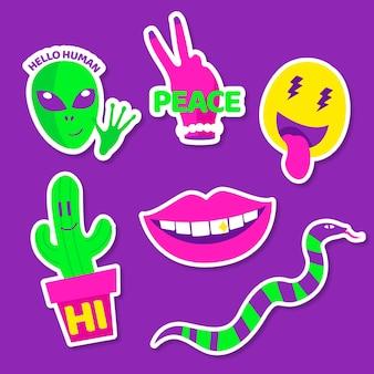 Zabawne elementy z naklejkami na twarz w kwasowych kolorach