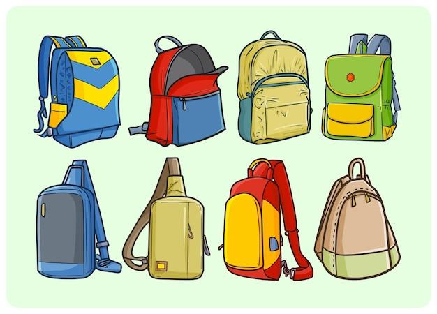 Zabawne i kolorowe plecaki w stylu doodle
