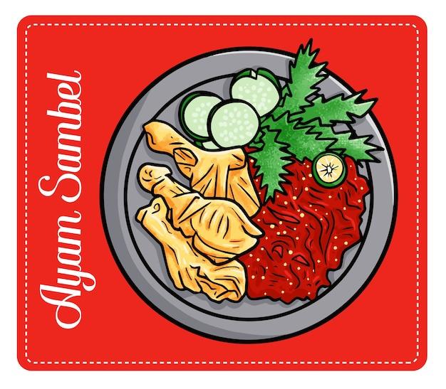 """Zabawne i pyszne pyszne """"ayam sambel"""", tradycyjne jedzenie z indonezji. zrobiony ze smażonego kurczaka i chilli."""
