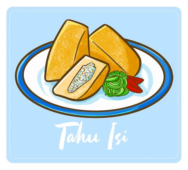 """Zabawne i pyszne słodkie indonezyjskie tofu lub """"tahu isi"""". tofu z mięsem i warzywami."""