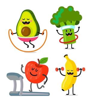 Zabawne i słodkie owoce i warzywa uprawiają sport