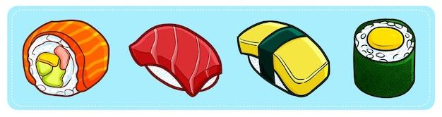 Zabawne i słodkie pyszne cztery rodzaje sushi w stylu kreskówki