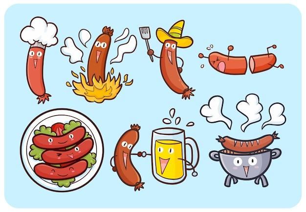 Zabawne i urocze kiełbaski z twarzą w stylu kawaii doodle