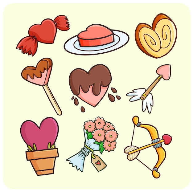 Zabawne i urocze serce kształtuje przedmioty i jedzenie w prostym stylu doodle