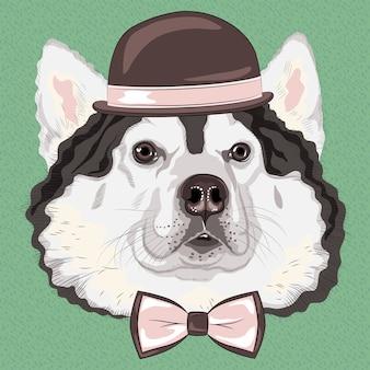 Zabawne kreskówki hipster alaskan malamute pies