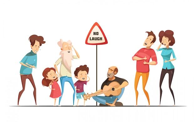 Zabawne momenty śmieszne życie rodzinne ze śpiewem i śmiechem znajomych komiks sytuacji retro kreskówka