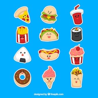 Zabawne naklejki nowoczesnych potraw