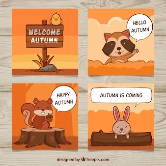 Zabawne opakowanie jesiennych kart ze zwierzętami