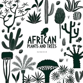 Zabawne ręcznie rysowane afrykańskie rośliny i drzewa