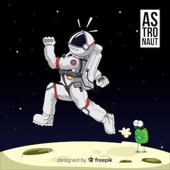 Zabawne ręcznie rysowane postaci astronautów