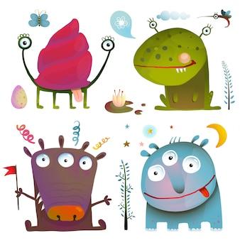 Zabawne śliczne małe potwory dla dzieci projektują kolorowe kolekcje. fikcyjne stworzenia