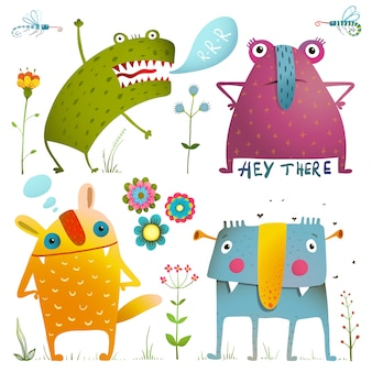 Zabawne śliczne małe potwory dla dzieci projektują kolorowe kolekcje. niesamowite fikcyjne stworzenia