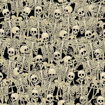 Zabawne szkielety. bezszwowe tło.