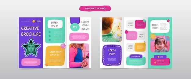 Zabawne trójdzielne szablony projektów broszur
