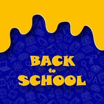 Zabawny abstrakcyjny baner powrót do szkoły w stylu cięcia papieru