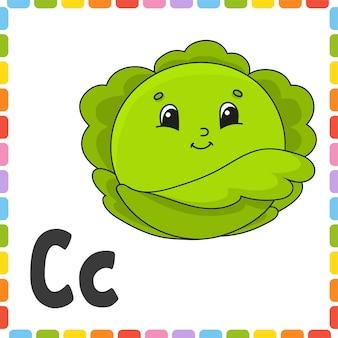 Zabawny alfabet. abc kwadratowe karty flash.