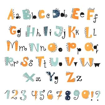 Zabawny alfabet i cyfry dino