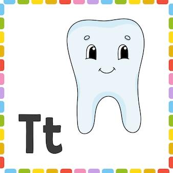 Zabawny alfabet. karty flash abc. ładny postać z kreskówki na białym tle.