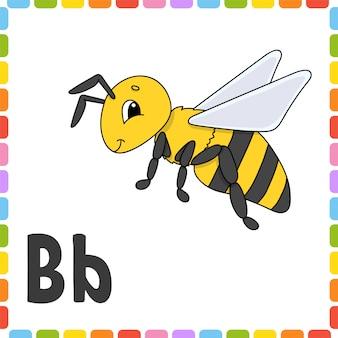 Zabawny alfabet. litera b - pszczoła. abc kwadratowe karty flash.