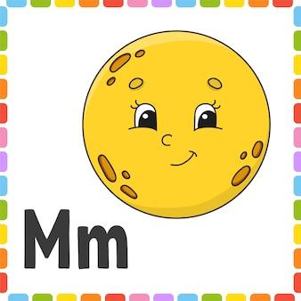 Zabawny alfabet. litera m - księżyc. abc kwadratowe karty flash. postać z kreskówki na białym tle.