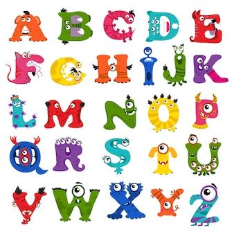 Zabawny alfabet potworów dla dzieci.