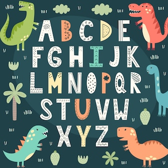 Zabawny alfabet z uroczymi dinozaurami. plakat edukacyjny dla dzieci