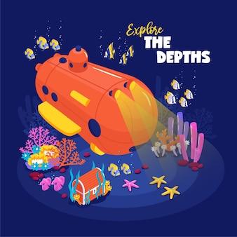 Zabawny batyskaf do nurkowania głębokiego na dnie oceanu otoczony ilustracją rafy koralowej ryb